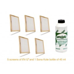 "Practicals material for Graphics Class 12 DPS Kit consists 5 screens of 10"" x 12"" and 1 bottle of Sona Kote 500 ml."