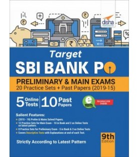 Target SBI Bank PO Preliminary and Main Exam - 20 Practice Sets + Past Papers (2019-15) - 9th Edition