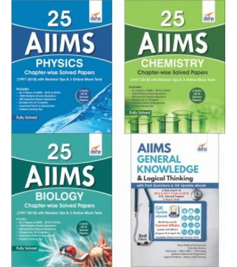 25 AIIMS PCB Chapter-wise Solved Papers  with AIIMS General Knowledge & Logical Thinking