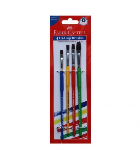 Faber Castell Tri-Grip Flat Synthetic Hair Paint Brushes (Pack of 4)