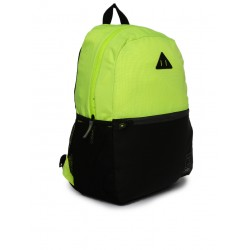 Unisex fluorescent green & black colourblocked backpack