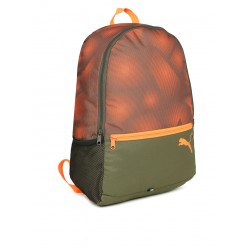 Unisex olive green & orange alpha graphic backpack