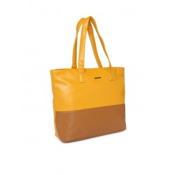 Yellow and brown colourblocked shoulder bag