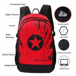 School Backpack 30 LTR Red Black Polyster
