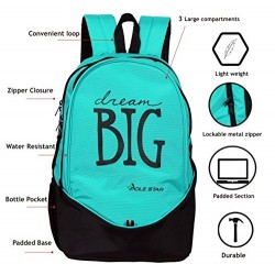 School Backpack 38 LTR Turquise Blue Black