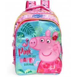 School Backpack 14 inch Pink Polyester Material with Satin