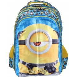School Backpack 16 inch Blue & Yellow Polyester Material