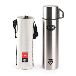 Cello Cup Style Stainless Steel 750ml Flask, Silver