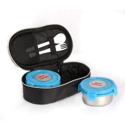 Cello Steel Lunchbox With 2 Containers 300 ml