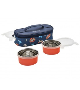 Borosil Blaze Blue SS Lunch Box with 2 Containers 320 ml