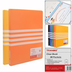 Clear plastic cover file 30 Pockets A4 Size Pack of  2