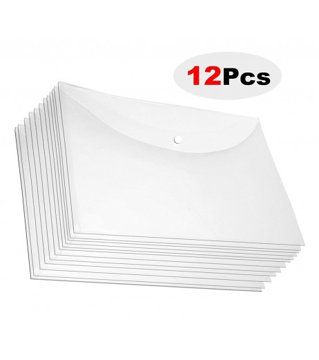 A4 Clear envelope folder with snap button organiser Pack of 12