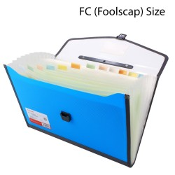 Plastic expanding folder 13 Pockets FC Size Blue
