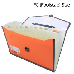Plastic expanding folder 13 Pockets FC Size Orange