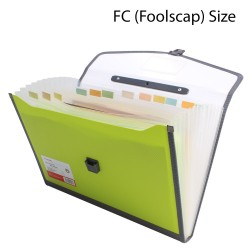 Plastic expanding folder 13 Pockets FC Size Green