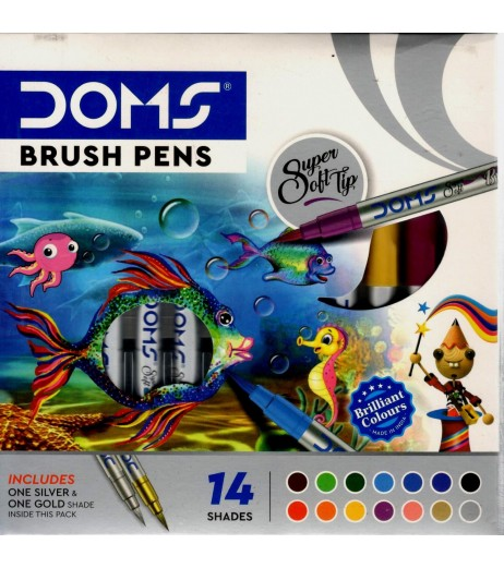 DOMS Brush Pen 14 Shades Includes 1 Silver and 1 Gold with Free Canson Montval 5 Sheets