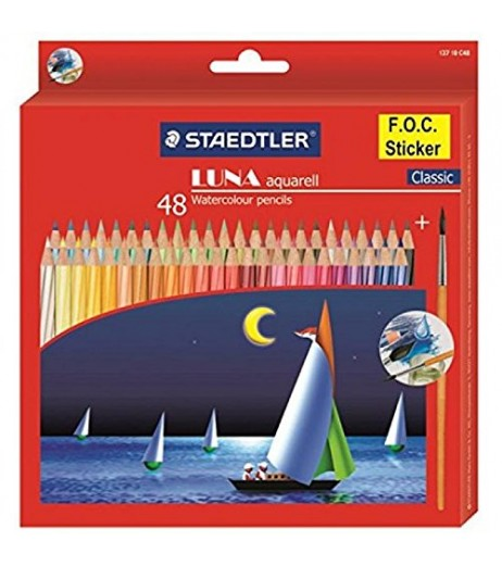 Staedtler Luna Aquarell Watercolor Pencil Pack of 48 Shades with With Free pencil Gift Material