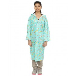 Finery Polyester Green Long Raincoat For Girls