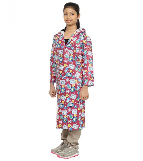 Finery Polyester Red Long Raincoat For Girls