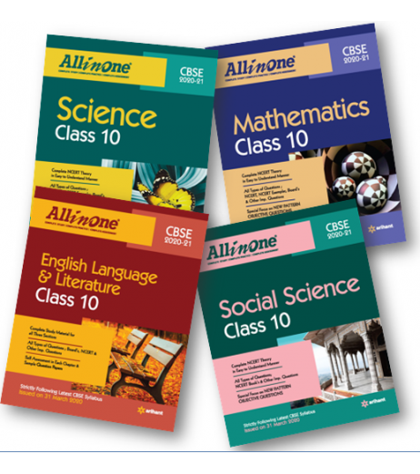 All In One Class 10 Set of 4 Books English,SS,Sci.,Math for 2020-21