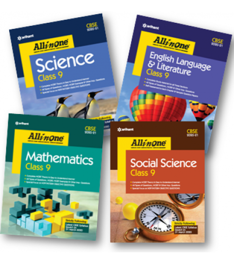 All In One Set of 4 Books English,SS,Sci.,Math For Class 9 2020-21
